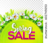 spring sale banner with green... | Shutterstock .eps vector #602745053