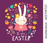 happy easter card. holiday... | Shutterstock .eps vector #602749727