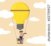 businessman on balloon in sky... | Shutterstock .eps vector #602750927