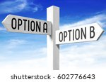 Small photo of Option A, option B - wooden signpost