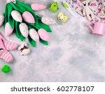 baby girl birthday greeting... | Shutterstock . vector #602778107