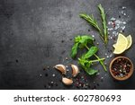 selection of spices herbs and... | Shutterstock . vector #602780693