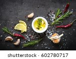 selection of spices herbs and... | Shutterstock . vector #602780717