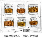 poster types of whiskey with... | Shutterstock .eps vector #602819603