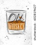 poster glass of whiskey... | Shutterstock .eps vector #602819627