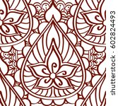 henna seamless pattern of brown ... | Shutterstock .eps vector #602824493