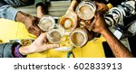 top view of friends cheering... | Shutterstock . vector #602833913