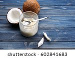 opened glass jar with fresh... | Shutterstock . vector #602841683