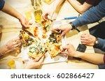 group of multi ethnic friends... | Shutterstock . vector #602866427
