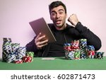 ecstatic man with tablet...   Shutterstock . vector #602871473