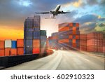 container truck  ship in port... | Shutterstock . vector #602910323