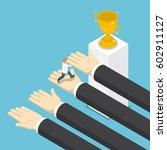 isometric big hands help... | Shutterstock .eps vector #602911127