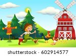 scene with farmer and windmill... | Shutterstock .eps vector #602914577