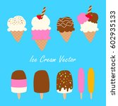 ice cream cones and popsicles...   Shutterstock .eps vector #602935133