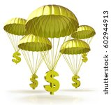 golden parachutes. dollar signs ... | Shutterstock . vector #602944913