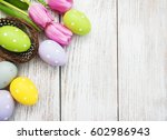 nest with easter eggs  on a old ... | Shutterstock . vector #602986943
