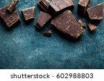 dark chocolate pieces crushed... | Shutterstock . vector #602988803
