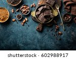 dark chocolate pieces crushed... | Shutterstock . vector #602988917