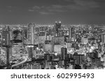 black and white  city central... | Shutterstock . vector #602995493