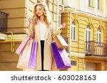 stylish  beautiful blonde hair... | Shutterstock . vector #603028163