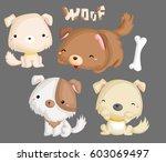 Stock vector puppies 603069497