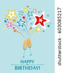 happy birthday card.... | Shutterstock .eps vector #603085217