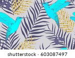 seamless pattern with birds and ... | Shutterstock .eps vector #603087497