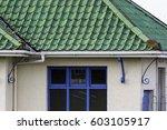 green roof pantiles.... | Shutterstock . vector #603105917