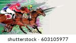 horse racing over grunge... | Shutterstock .eps vector #603105977