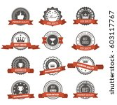 emblems  badges and stamps with ... | Shutterstock .eps vector #603117767