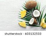 composition of fresh pineapple... | Shutterstock . vector #603132533