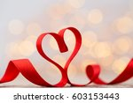 red heart with ribbon.... | Shutterstock . vector #603153443