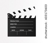movie clapper isolated on white.... | Shutterstock .eps vector #603173603