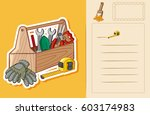 postcard template with toolbox... | Shutterstock .eps vector #603174983