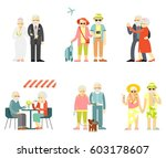 set of senior man and woman... | Shutterstock .eps vector #603178607