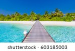 maldives paradise scenery.... | Shutterstock . vector #603185003