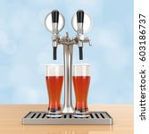 Bar Beer Tap With Beer Glasses...