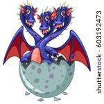 three headed dragon in grey egg ... | Shutterstock .eps vector #603192473