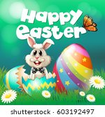 happy easter poster with bunny... | Shutterstock .eps vector #603192497