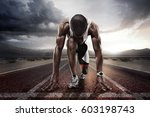 sport backgrounds. sprinter on... | Shutterstock . vector #603198743