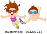 cartoon kids swimming underwater | Shutterstock . vector #603203213