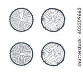 log cross section four isolated ... | Shutterstock .eps vector #603209663