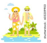 summer vacation of elderly... | Shutterstock .eps vector #603209903