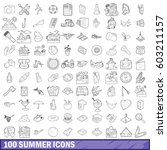 100 summer icons set in outline ...   Shutterstock .eps vector #603211157