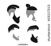 set of hipster man haircuts ... | Shutterstock .eps vector #603217013
