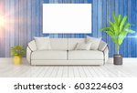 modern bright interior with... | Shutterstock . vector #603224603