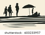 silhouettes of people on the... | Shutterstock .eps vector #603233957