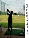 Small photo of Golf practice is a training ground. Amateur golfer To pursue a career