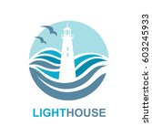 lighthouse icon design with... | Shutterstock .eps vector #603245933