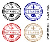 istanbul mail stamps. colored... | Shutterstock .eps vector #603257003